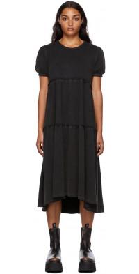 R13 Black Shredded Relaxed Midi Dress