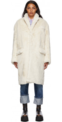 R13 Off-White Faux-Fur Teddy Bear Coat