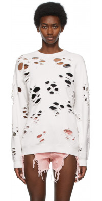 R13 White Super Distressed Oversized Sweatshirt
