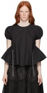 Renli Su Black Cotton Washed T-Shirt