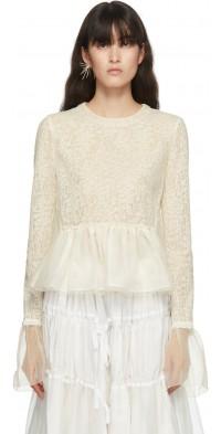 Renli Su Off-White Wool & Silk Lace Blouse
