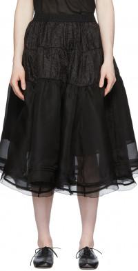 Renli Su SSENSE Exclusive Black Mulberry Silk Ballet Skirt