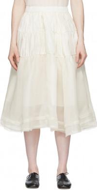 Renli Su White Mulberry Silk Ballet Skirt
