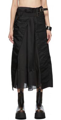 Sacai Black Nylon Paneled Skirt