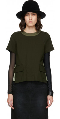 Sacai Khaki Suiting Mix T-Shirt
