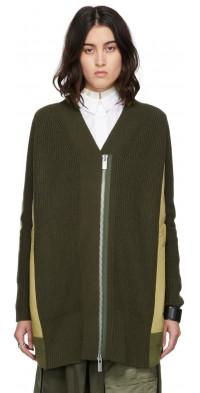 Sacai Wool & Nylon Twill Paneled Cardigan