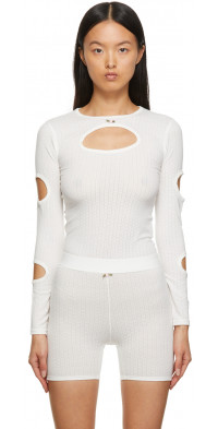Sandy Liang SSENSE Exclusive Off-White Cut-Out Orbit Top