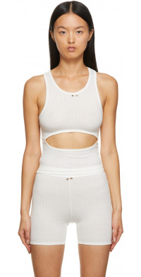 Sandy Liang SSENSE Exclusive Off-White Cut-Out Tank Top