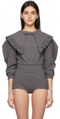 Shushu/Tong Grey Peaked Collar Bow Blouse