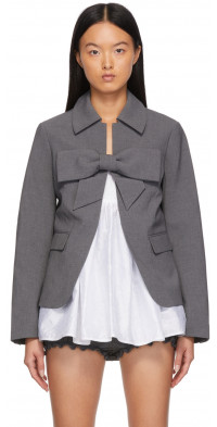Shushu/Tong SSENSE Exclusive Grey Bow Suit Jacket