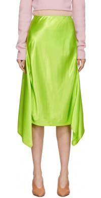Sies Marjan Green Satin Asymmetric Darby Skirt
