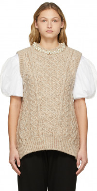 Simone Rocha Beige Beaded Sculpted Sweater