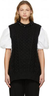 Simone Rocha Black Beaded Sculpted Sweater