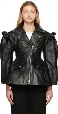 Simone Rocha Black Leather Sculpted Biker Detail Jacket