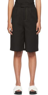SIR. Black Long Line Maxe Shorts