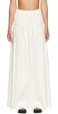 SIR. White Organic Linen Cleide Skirt