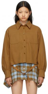 SJYP Brown Strap Detail Shirt