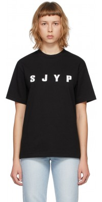 SJYP SSENSE Exclusive Black Logo T-Shirt