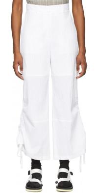 SJYP White Drawstring Side Trousers