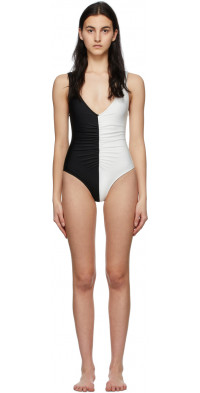 Solid & Striped Black & White 'The Lucia' One-Piece Swimsuit