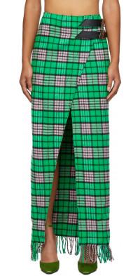 The Attico Plaid Long Skirt
