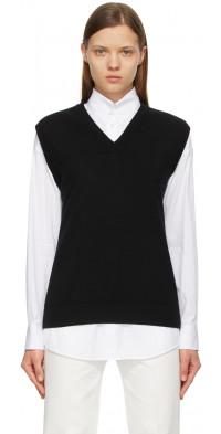 The Row Black Wool Cremona V-Neck Vest