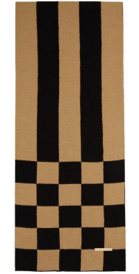 TheOpen Product Beige & Black Chessboard Check Scarf