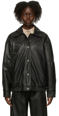 TheOpen Product Black Faux-Leather Bomber Jacket