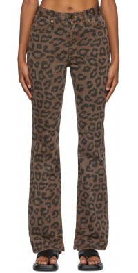 TheOpen Product Brown Leopard Side Button Jeans