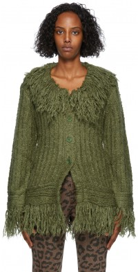 TheOpen Product Green Fringe Detail Cardigan