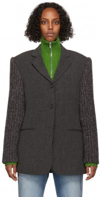 TheOpen Product Grey Knitted Sleeve Blazer
