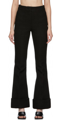 We11done Black Cotton Flared Trousers