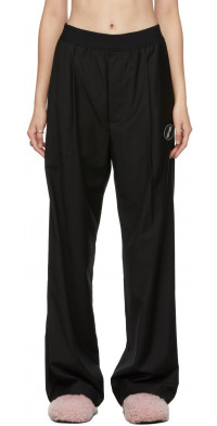 We11done Black Logo Trousers