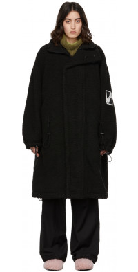 We11done Black Sherpa Fleece Oversized Coat