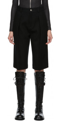 We11done Black Wool Tuck Shorts
