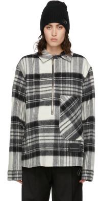 We11done Grey Check Anorak Half-Zip Jacket