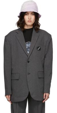 We11done Grey Oversized Suit Logo Blazer