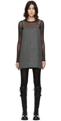 We11done Grey Wool Oversize Mini Dress
