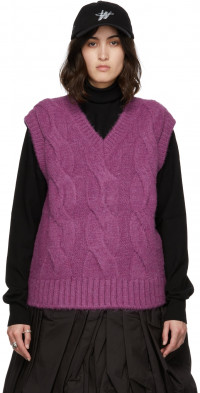 We11done Purple Brushed Cable Knit Vest