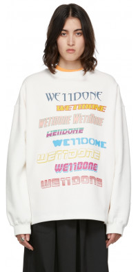 We11done White Front Logo Sweatshirt