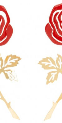 Y/Project Red & Gold Rose Earrings